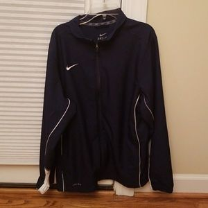 Mens navy Nike dri fit zip up jacket size small